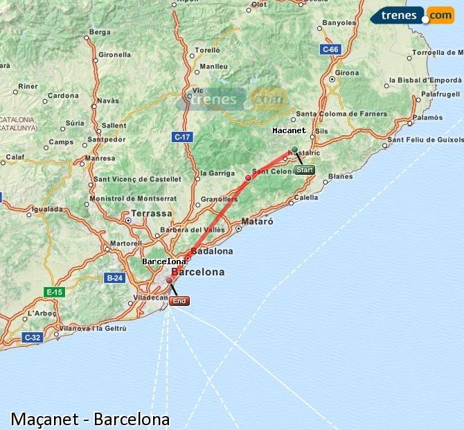 Karte vergrößern Züge Maçanet Barcelona