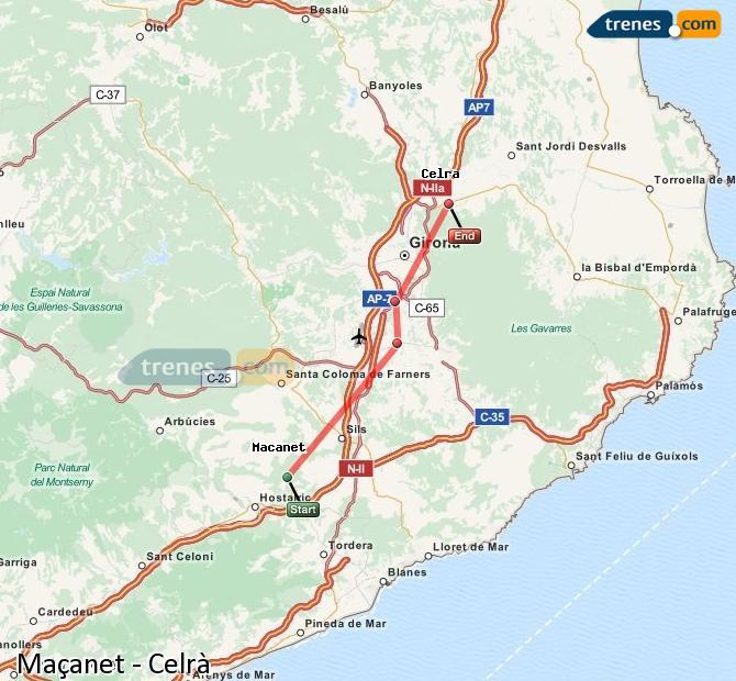 Enlarge map Trains Maçanet to Celrà