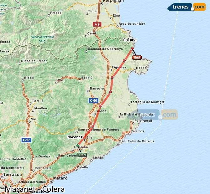 Ingrandisci la mappa Treni Maçanet Colera