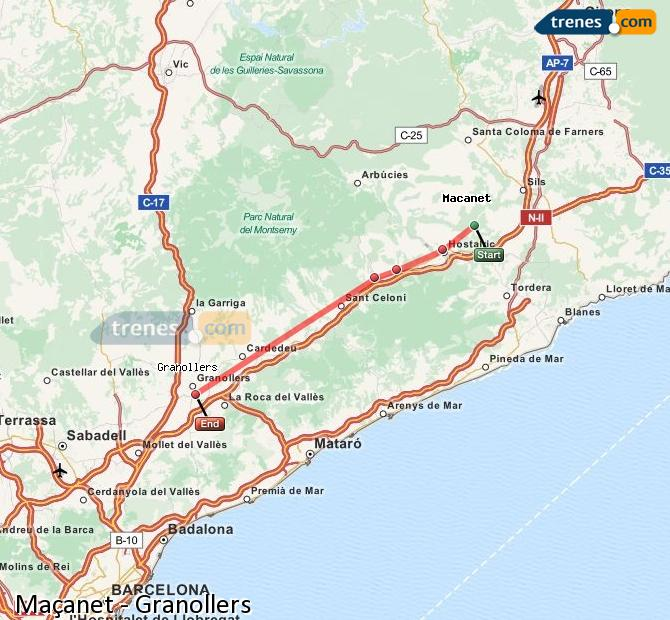 Enlarge map Trains Maçanet to Granollers