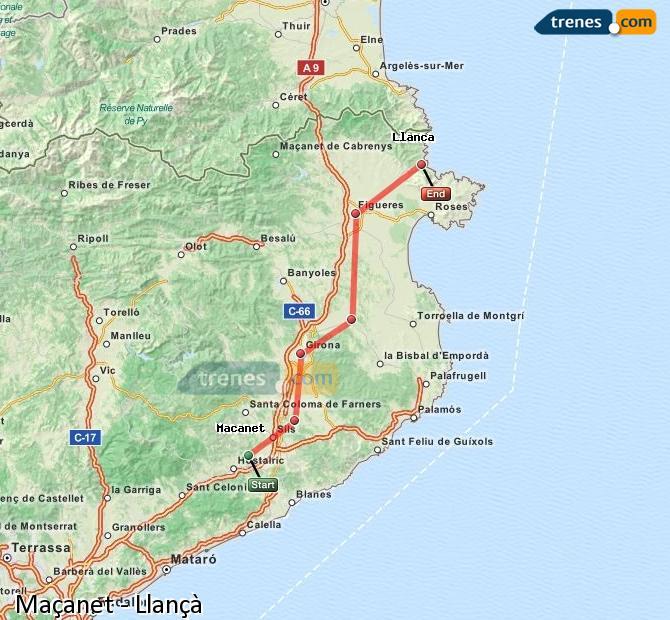Enlarge map Trains Maçanet to Llançà
