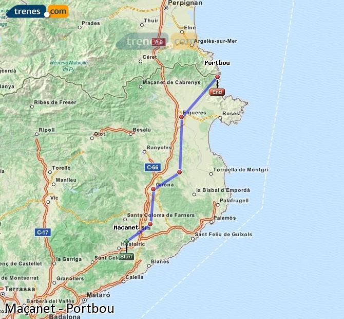Agrandir la carte Trains Maçanet Portbou