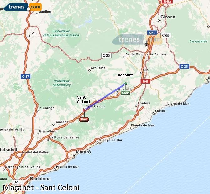 Karte vergrößern Züge Maçanet Sant Celoni