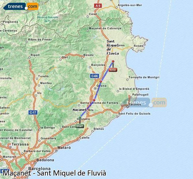 Karte vergrößern Züge Maçanet Sant Miquel de Fluvià