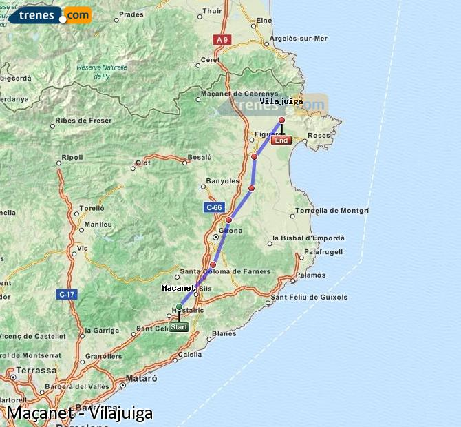 Ingrandisci la mappa Treni Maçanet Vilajuiga