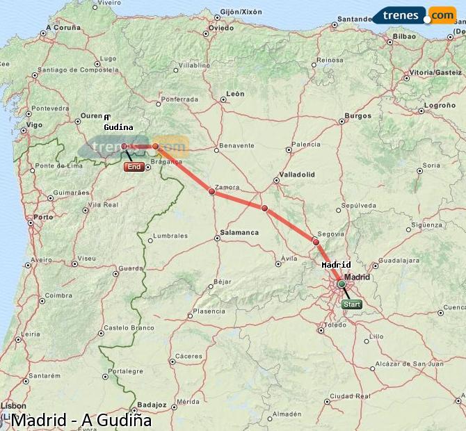 Agrandir la carte Trains Madrid A Gudiña