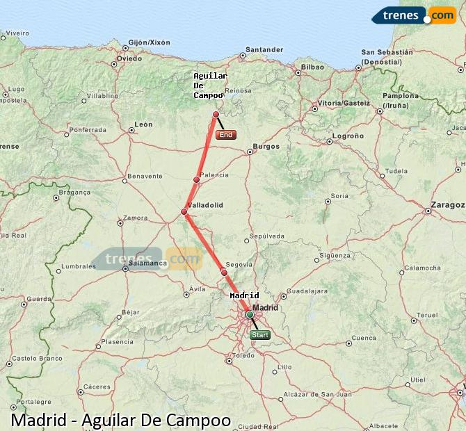 Karte vergrößern Züge Madrid Aguilar De Campoo