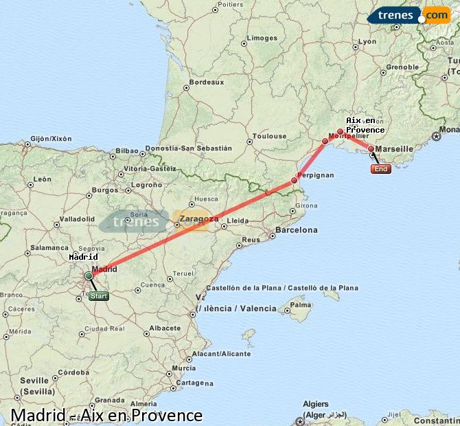 Enlarge map Trains Madrid to Aix en Provence