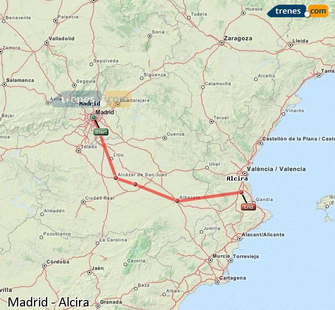 Enlarge map Trains Madrid to Alcira