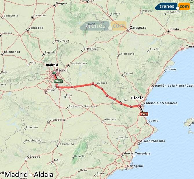 Enlarge map Trains Madrid to Aldaia