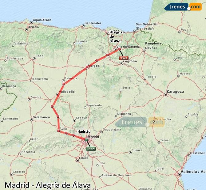 Karte vergrößern Züge Madrid Alegría de Álava