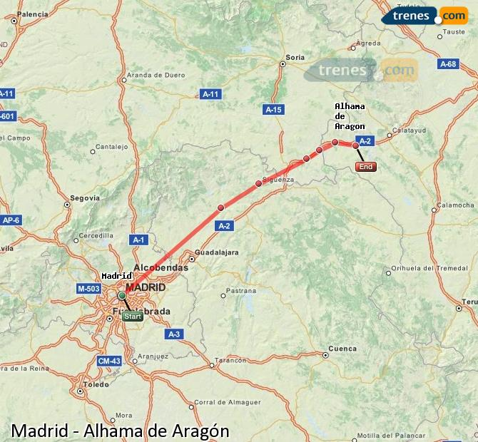 Ampliar mapa Trenes Madrid Alhama de Aragón