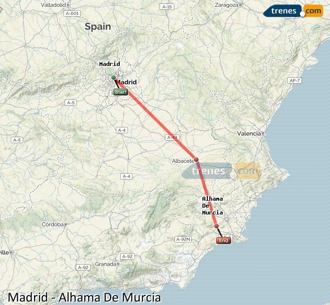 Agrandir la carte Trains Madrid Alhama De Murcia