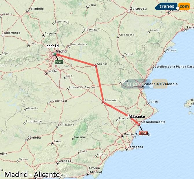 Enlarge map Trains Madrid to Alicante