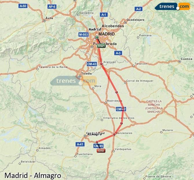 Karte vergrößern Züge Madrid Almagro