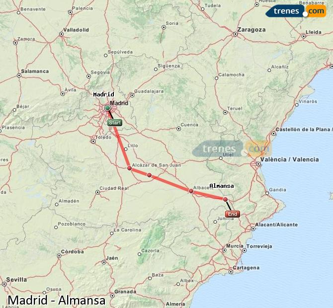 Enlarge map Trains Madrid to Almansa