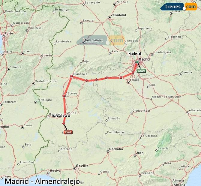 Enlarge map Trains Madrid to Almendralejo