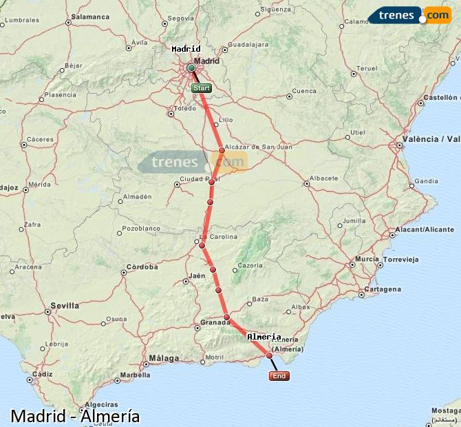 Enlarge map Trains Madrid to Almeria