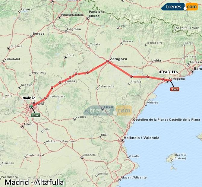 Karte vergrößern Züge Madrid Altafulla
