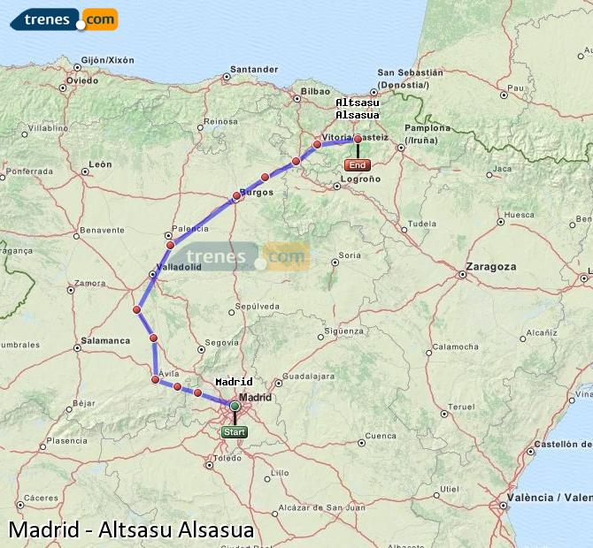 Enlarge map Trains Madrid to Altsasu Alsasua