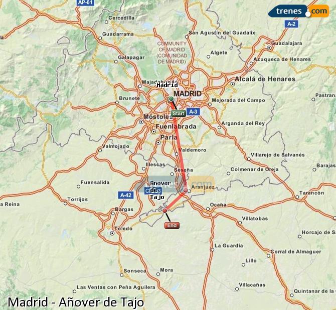 Agrandir la carte Trains Madrid Añover de Tajo