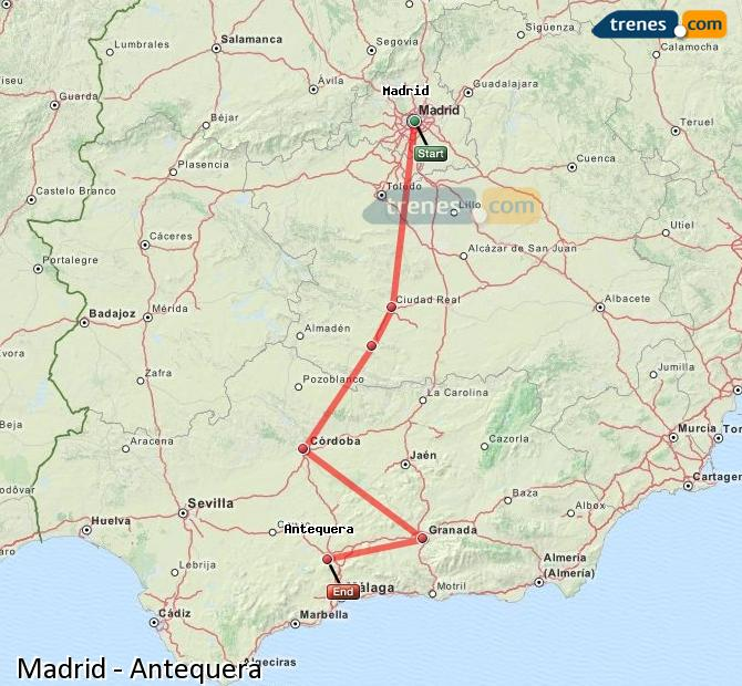 Enlarge map Trains Madrid to Antequera
