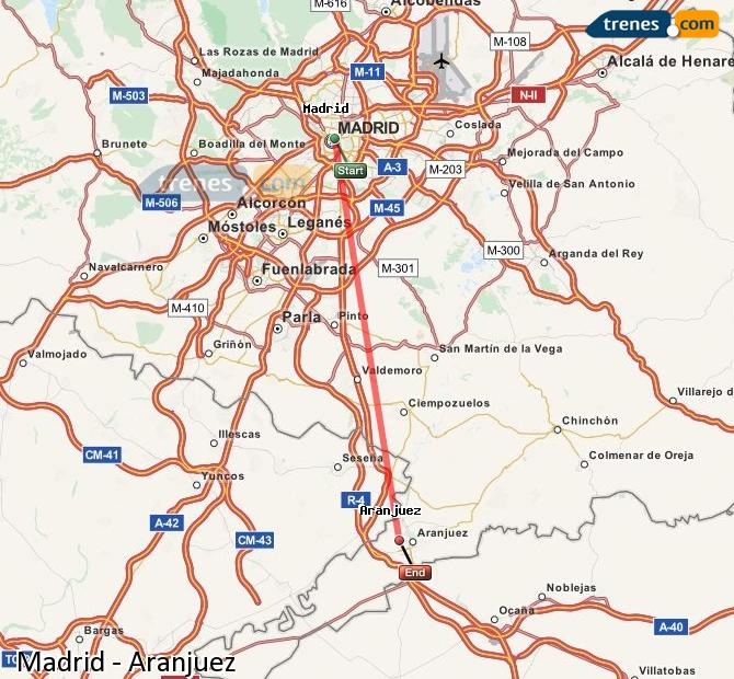 Enlarge map Trains Madrid to Aranjuez