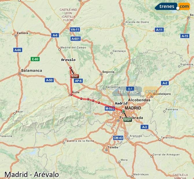 Karte vergrößern Züge Madrid Arévalo