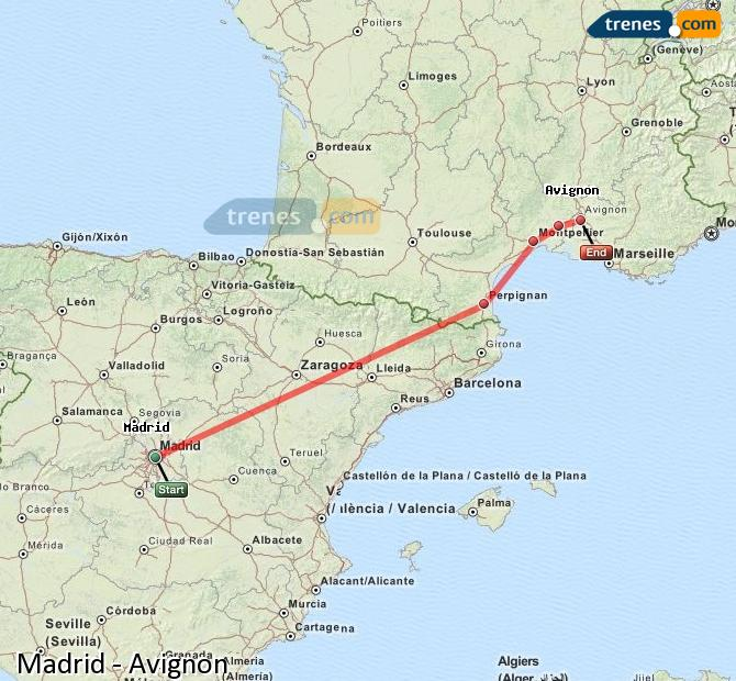 Ampliar mapa Trenes Madrid Avignon