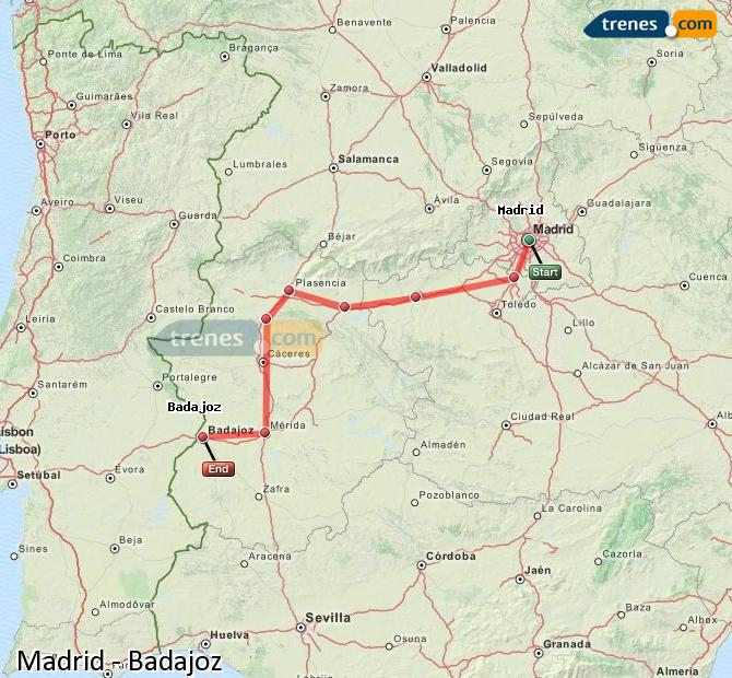 Enlarge map Trains Madrid to Badajoz