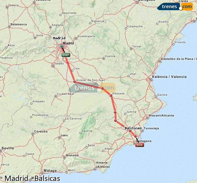 Enlarge map Trains Madrid to Balsicas
