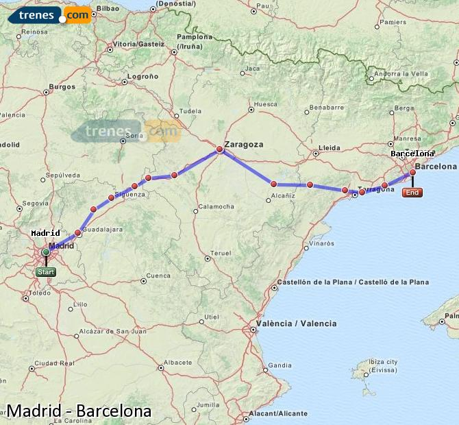 Enlarge map Trains Madrid to Barcelona