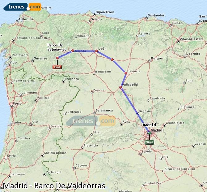 Ampliar mapa Trenes Madrid Barco De Valdeorras