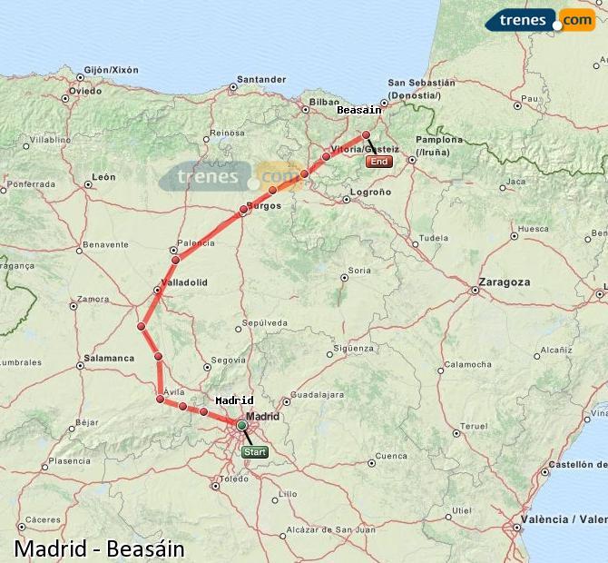 Ingrandisci la mappa Treni Madrid Beasáin