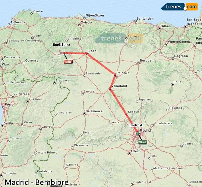 Enlarge map Trains Madrid to Bembibre