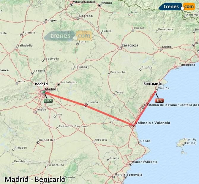 Enlarge map Trains Madrid to Benicarló