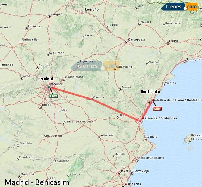 Karte vergrößern Züge Madrid Benicasim