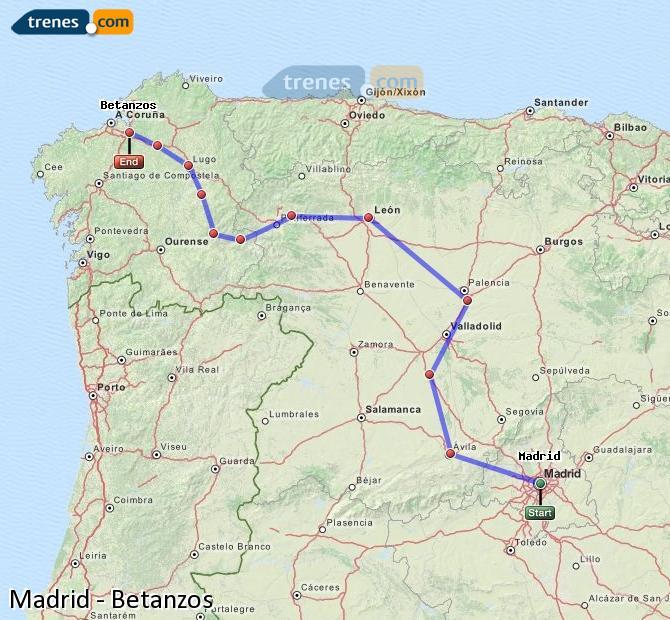 Ingrandisci la mappa Treni Madrid Betanzos