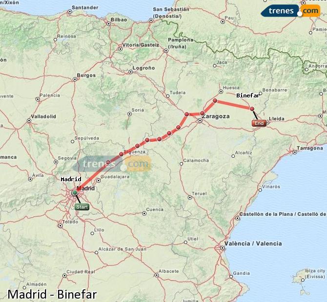 Agrandir la carte Trains Madrid Binefar