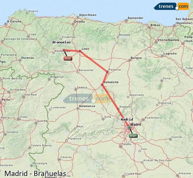Karte vergrößern Züge Madrid Brañuelas