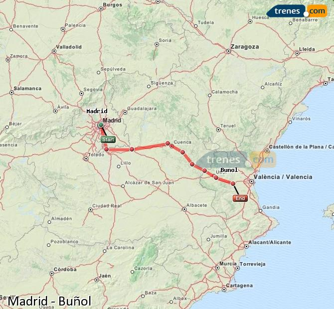 Enlarge map Trains Madrid to Buñol