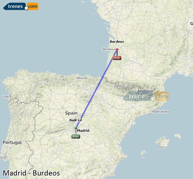 Ampliar mapa Trenes Madrid Burdeos