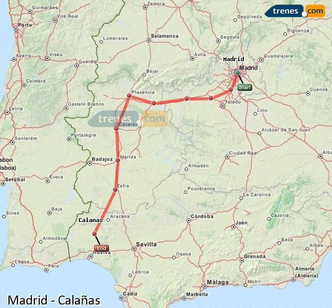 Enlarge map Trains Madrid to Calañas