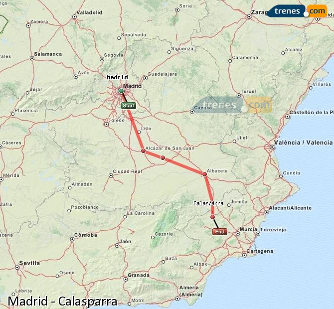 Enlarge map Trains Madrid to Calasparra