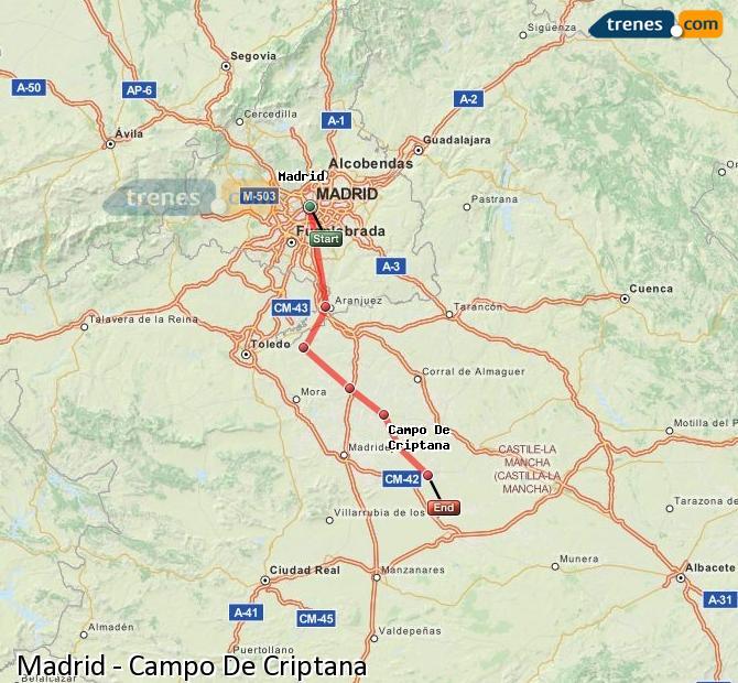 Ingrandisci la mappa Treni Madrid Campo De Criptana