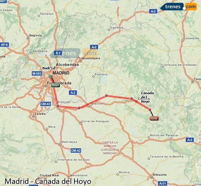 Karte vergrößern Züge Madrid Cañada del Hoyo