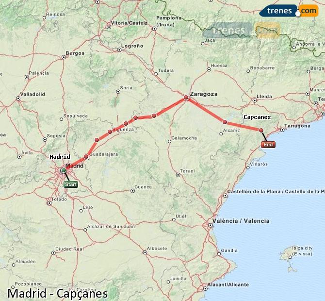 Ingrandisci la mappa Treni Madrid Capçanes