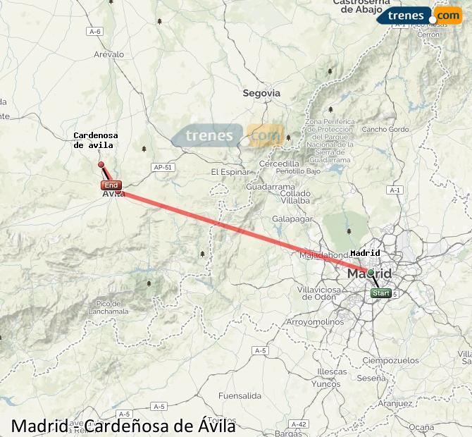 Agrandir la carte Trains Madrid Cardeñosa de Ávila