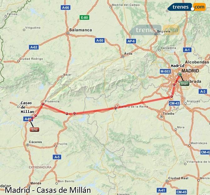 Agrandir la carte Trains Madrid Casas de Millán