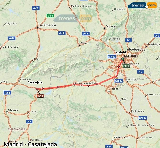Enlarge map Trains Madrid to Casatejada